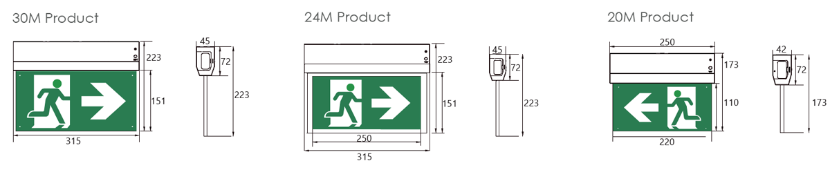 genstar emergency lighting solutions exit sign multiple mounting dimensions